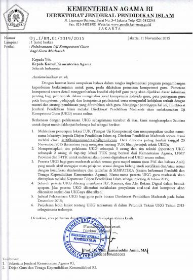 UKG Kemenag Dilaksanakan Desember 2015, Diikuti Semua Guru Mapel Kecuali ... (2/2)
